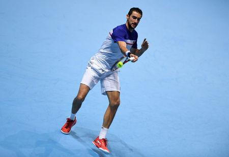 Tennis - ATP World Tour Finals - The O2 Arena, London, Britain - November 14, 2017 Croatia's Marin Cilic in action during his group stage match against USA's Jack Sock Action Images via Reuters/Tony O'Brien