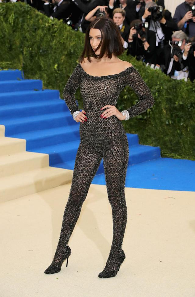 <p>The 20-year-old model wore a sheer, beaded black bodysuit from designer Alexander Wang. (Photo by Neilson Barnard/Getty Images) </p>