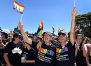 """<p>Australian """"guncles"""" celebrate the legalization of same-sex marriage in 2017. <br></p>"""