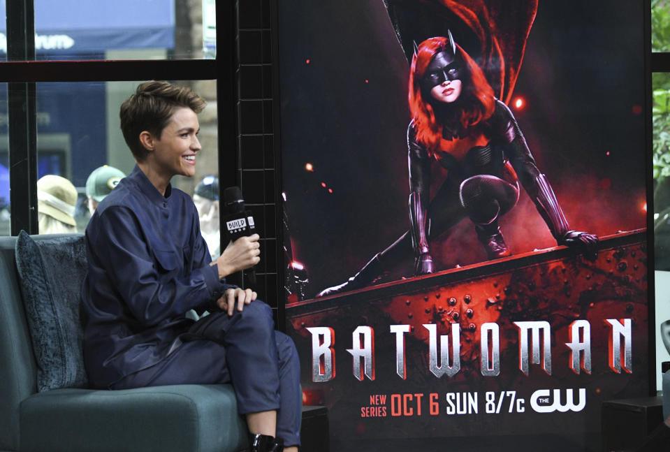 """Actress Ruby Rose participates in the BUILD Speaker Series to discuss the CW television series """"Batwoman"""" at BUILD Studio on Monday, Sept. 30, 2019, in New York. (Photo by Evan Agostini/Invision/AP)"""