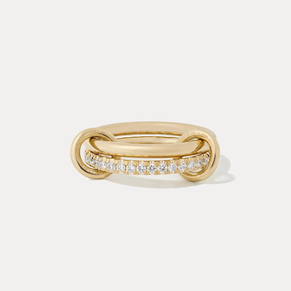 """Spinelli Kilcolin's interlocked design looks like two separate rings stacked on top of each other, except it's one piece held together by two annulets. $3800, Net-A-Porter. <a href=""""https://www.net-a-porter.com/en-us/shop/product/spinelli-kilcollin/ceres-deux-set-of-two-18-karat-gold-and-diamond-rings/1286530"""" rel=""""nofollow noopener"""" target=""""_blank"""" data-ylk=""""slk:Get it now!"""" class=""""link rapid-noclick-resp"""">Get it now!</a>"""