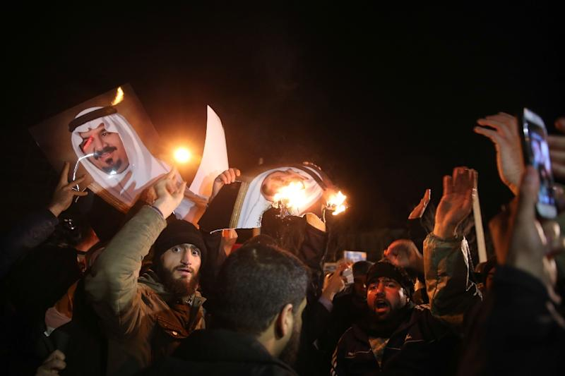 Iranian protesters demonstrate outside the Saudi embassy in Tehran on January 2, as they protest against the execution of prominent Shiite cleric Nimr al-Nimr by Saudi authorities