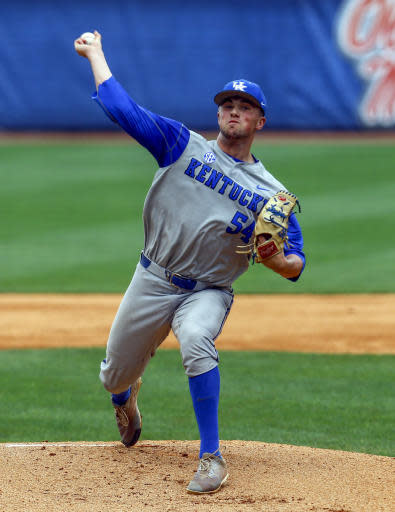 Kentucky pitcher Daniel Harper (54) throws a pitch during the first inning of a Southeastern Conference NCAA college baseball game against Auburn, Tuesday, May 22, 2018, in Hoover, Ala. (AP Photo/Butch Dill)