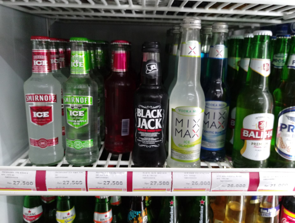 The photo shows a collection of pre-mixed sealed drinks which Colin Ahearn says are safe to drink overseas.