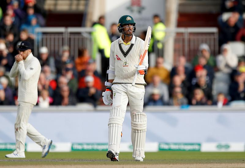 Australia's Mitchell Starc celebrates reaching 50 runs during day two of the fourth Ashes Test at Emirates Old Trafford, Manchester. (Photo by Martin Rickett/PA Images via Getty Images)