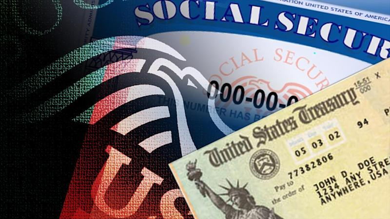 US Social Security sample card and sample check, on texture, partial graphic