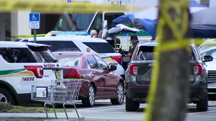 Law enforcement respond to a shooting at a Publix supermarket in South Florida on Thursday, June 10, 2021, as seen in this video screengrab. / Credit: CBS affiliate WPEC-TV