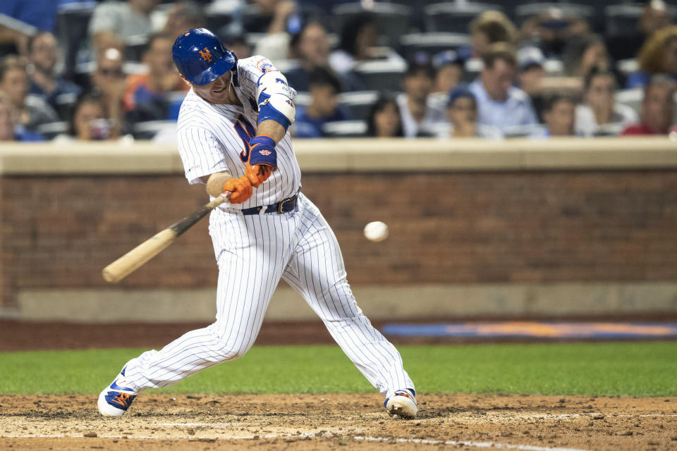 New York Mets' Pete Alonso hits a two run double during the seventh inning of a baseball game against the Cleveland Indians, Tuesday, Aug. 20, 2019, in New York. (AP Photo/Mary Altaffer)