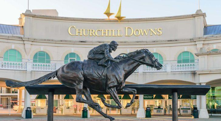 Entrance to the Churchill Downs (CHDN) venue featuring a statue of the 2006 Kentucky Derby champion Barbaro.