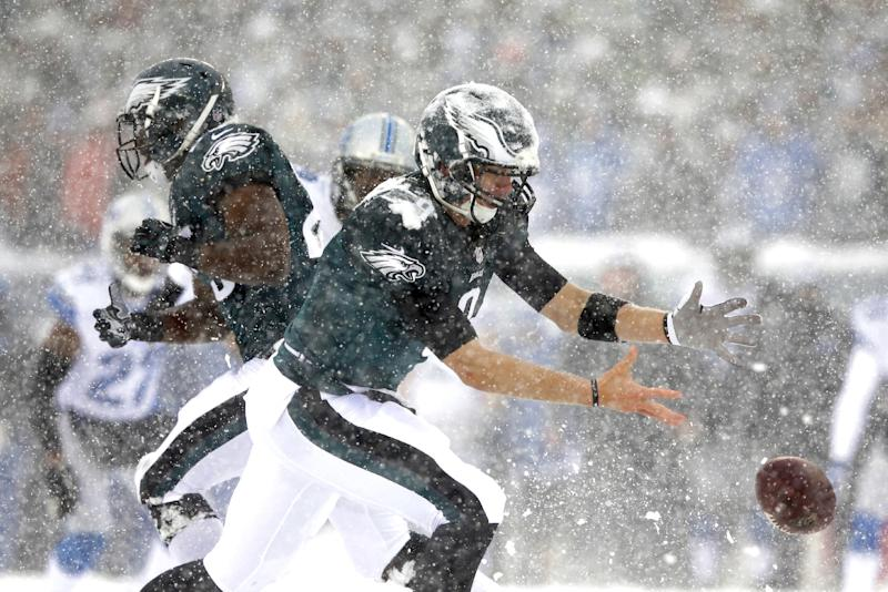 In the snow, Philadelphia Eagles' Nick Foles cannot hang onto the ball during the first half of an NFL football game against the Detroit Lions, Sunday, Dec. 8, 2013, in Philadelphia. (AP Photo/Michael Perez)