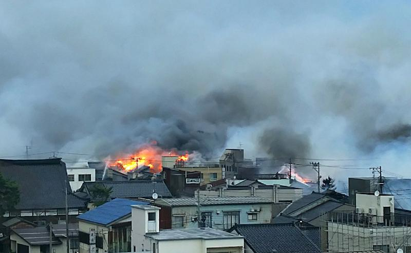 A large fire ignites in Japanese city, 50 homes burned down
