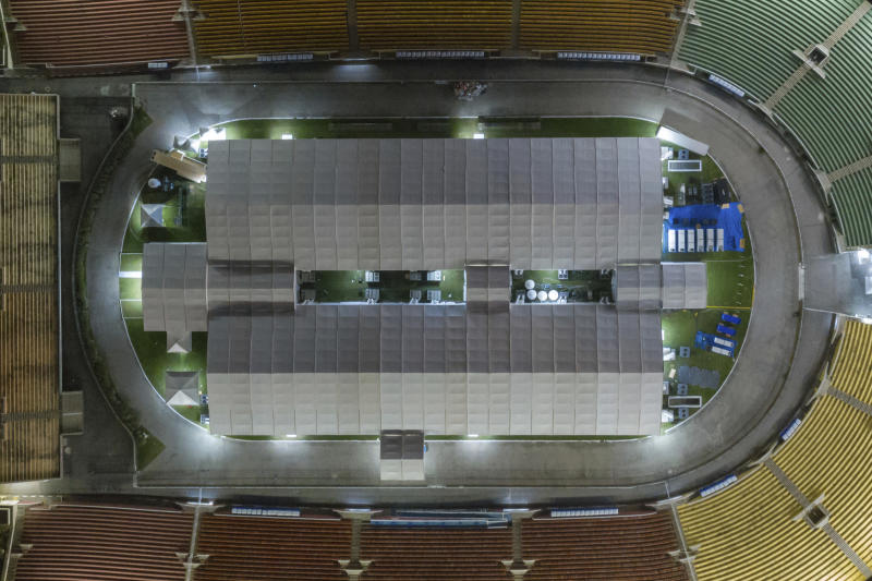 Drone photos, taken from the field hospital at the Pacaembu stadium, created for the Covid-19 crisis, in São Paulo, Brazil on April 6, 2020 (Photo by Andre Chaco/Fotoarena/Sipa USA)(Sipa via AP Images)