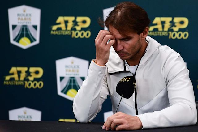 Nadal was forced to withdraw from the Paris Masters last month