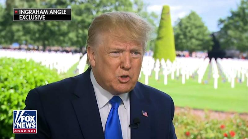 President Trump speaks to Fox News' Laura Ingraham before delivering his commemorative D-Day address in Normandy, France, on Thursday. (Screengrab via Fox News)