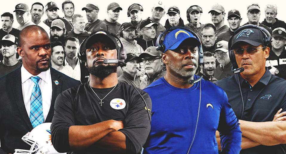 In front row from left, Brian Flores, Mike Tomlin, Anthony Lynn and Ron Rivera are the NFL's only minority head coaches headed into the 2019 season. (Amber Matsumoto/Yahoo Sports)
