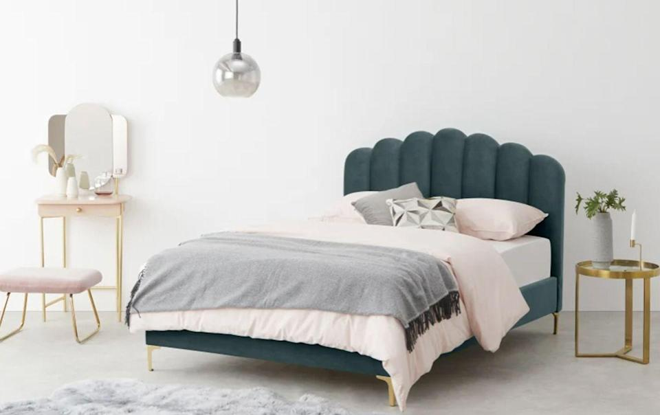 """<p>For renters in particular, decorating options can be limited when it comes to DIY. If you can't repaint your room, there are other ways to incorporate green into your bedroom, without sacrificing your security deposit.</p><p>The easiest way to do this is with big furniture pieces, such as chests of drawers, wardrobes and, of course, your bed. A bed is the central lynchpin of any bedroom, so going for green on this will help ensure green stands out as the main hue of your space. </p><p><strong>Made Delia Double Bed in Marine Velvet, <a href=""""https://go.redirectingat.com?id=127X1599956&url=https%3A%2F%2Fwww.made.com%2Fppc%2Fdelia-double-bed-marine-green-velvet&sref=https%3A%2F%2Fwww.goodhousekeeping.com%2Fuk%2Fhouse-and-home%2Fhome-decorating-ideas%2Fg36449164%2Fgreen-bedroom-ideas%2F"""" rel=""""nofollow noopener"""" target=""""_blank"""" data-ylk=""""slk:£549"""" class=""""link rapid-noclick-resp"""">£549</a> </strong></p>"""