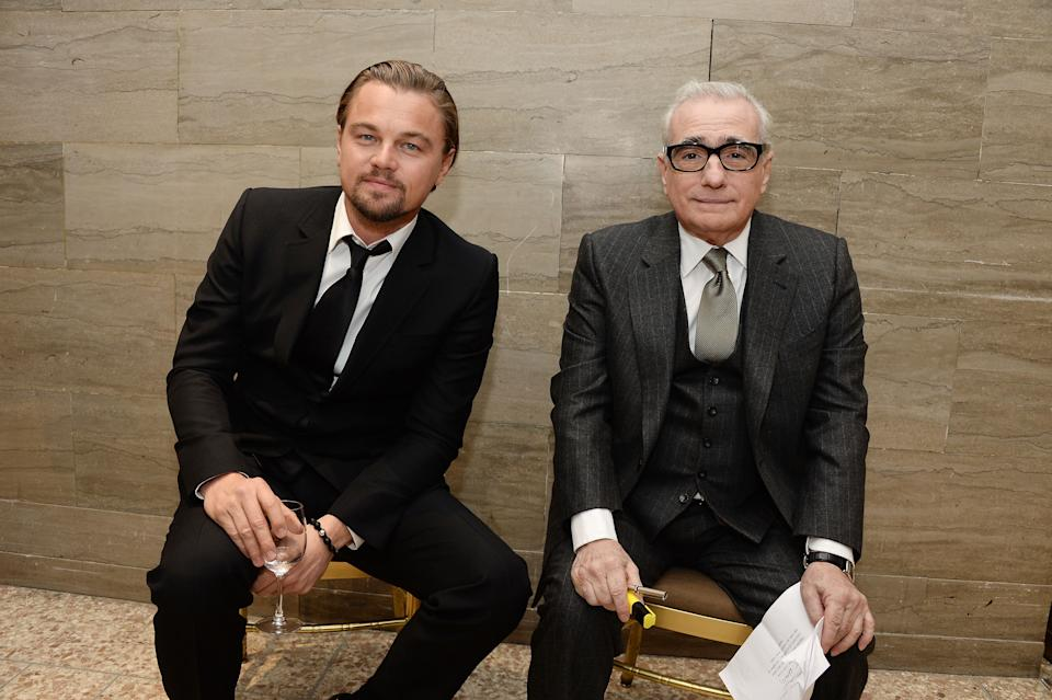 NEW YORK, NY - JANUARY 07:  (EXCLUSIVE COVERAGE) Actor Leonardo DiCaprio (L) and filmmaker Martin Scorsese rehearse backstage at the 2014 National Board Of Review Awards Gala at Cipriani 42nd Street on January 7, 2014 in New York City.  (Photo by Jamie McCarthy/WireImage)