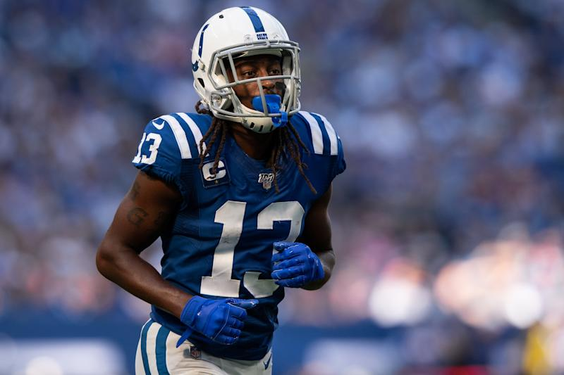 INDIANAPOLIS, IN - OCTOBER 20: Indianapolis Colts wide receiver T.Y. Hilton (13) lines up before the snap during the NFL game between the Houston Texans and the Indianapolis Colts on October 20, 2019 at Lucas Oil Stadium, in Indianapolis, IN. (Photo by Zach Bolinger/Icon Sportswire via Getty Images)