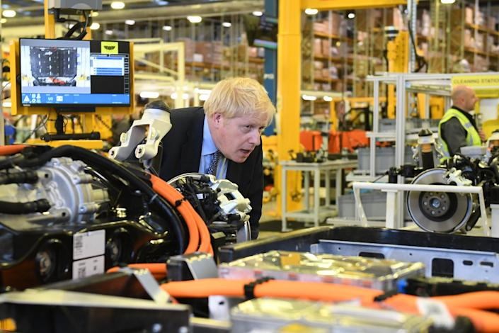Prime Minister Boris Johnson during a visit to the London Electric Vehicle Company in Coventry, whilst General Election campaigning in the West Midlands. PA Photo. Picture date: Wednesday November 13,2019. See PA story POLITICS Election. Photo credit should read: Stefan Rousseau/PA Wire
