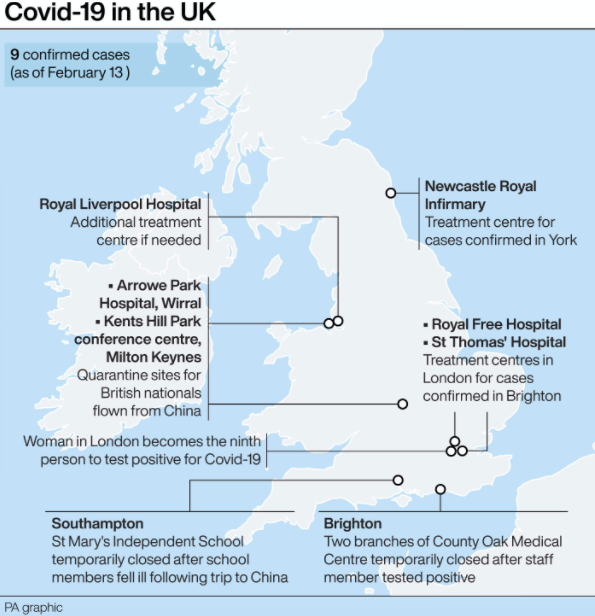 Confirmed cases of coronavirus in the UK so far. (PA)