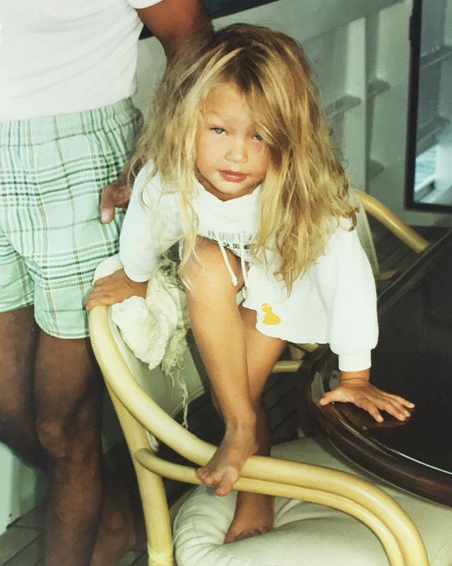 """<p>A TBT photo aficionado, Gigi Hadid shared a photo of herself as a child while getting ready <a href=""""https://www.elle.com/uk/life-and-culture/a28695858/gigi-hadid-mykonos-comments/"""" rel=""""nofollow noopener"""" target=""""_blank"""" data-ylk=""""slk:for her holiday to Mykonos."""" class=""""link rapid-noclick-resp"""">for her holiday to Mykonos.</a></p><p><a href=""""https://www.instagram.com/p/B0UFZ2In_2Q/"""" rel=""""nofollow noopener"""" target=""""_blank"""" data-ylk=""""slk:See the original post on Instagram"""" class=""""link rapid-noclick-resp"""">See the original post on Instagram</a></p>"""