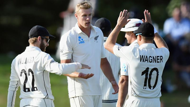 New Zealand hold firm with bat after Jamieson's maiden five-for cleans up India