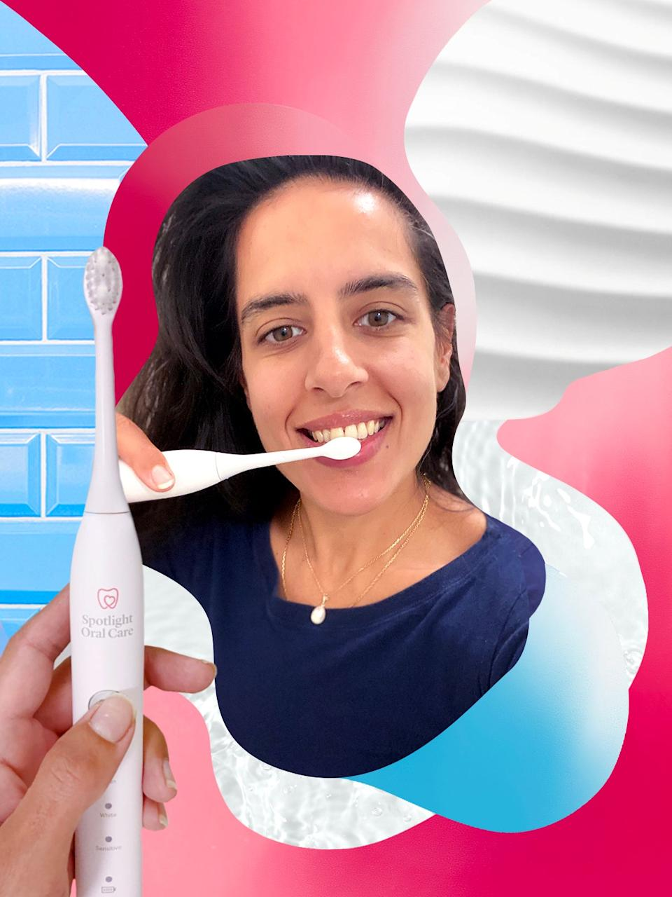 """<strong>Day Three Tip: <em>""""Keep your mouth closed when brushing to avoid toothpaste clean-ups later!""""</em></strong><br><br>The Sonic Toothbrush is a big improvement on my usual oral care routine: I'm cleaning more thoroughly and I can actually feel the difference on my teeth. My breath seems fresher too, a win-win for everyone. It did take a few days to get used to keeping my mouth closed while brushing, though (my mirror is sporting some artistic toothpaste splatters!).<br><br>The brush was fully charged on day one and thanks to its long-life battery, I'm not worried about having to put it on charge every night. I'm going away this weekend so will just pop the brush in the compact travel case – much more hygienic than my usual habit of chucking the brush in with my toiletries at the last minute.<br><br>I've been checking out more of Spotlight Oral Care's products online and am intrigued to try their Teeth Whitening Strips as I've never used whitening products before. Their entire range, from mouthwash to toothpaste, is palm oil-free, cruelty-free and toxin-free. Don't mind me while I add a couple of things to my basket…<br><br><em>Want to improve your oral care routine with the Spotlight Oral Care Sonic Toothbrush? Enjoy 25% off all <a href=""""http://oralcare.tv/Refinery29"""" rel=""""nofollow noopener"""" target=""""_blank"""" data-ylk=""""slk:Spotlight Oral Care products"""" class=""""link rapid-noclick-resp"""">Spotlight Oral Care products</a> on their site, with our Refinery29 offer code</em>: REFINERY25<br><br><strong>Spotlight Oral Care</strong> Spotlight Sonic Toothbrush, $, available at <a href=""""https://oralcare.tv/Refinery29"""" rel=""""nofollow noopener"""" target=""""_blank"""" data-ylk=""""slk:Spotlight Oral Care"""" class=""""link rapid-noclick-resp"""">Spotlight Oral Care</a>"""