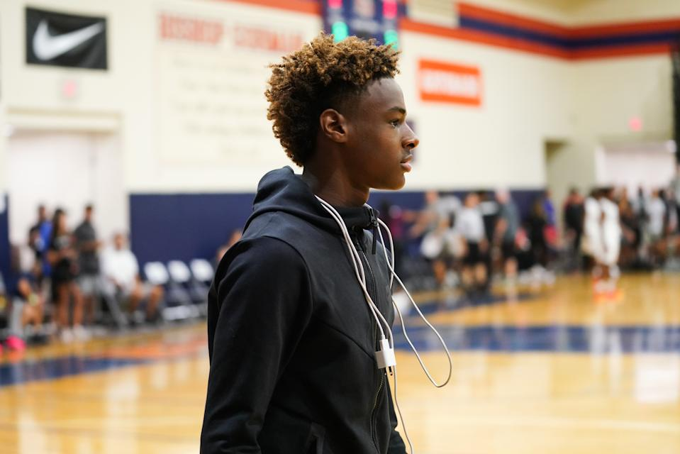 LAS VEGAS, NV - JULY 26:  LeBron James Jr. watches Zaire Wade's AAU game court side at the Fab 48 tournament at Bishop Gorman High School on July 26, 2018 in Las Vegas, Nevada.  (Photo by Cassy Athena/Getty Images)