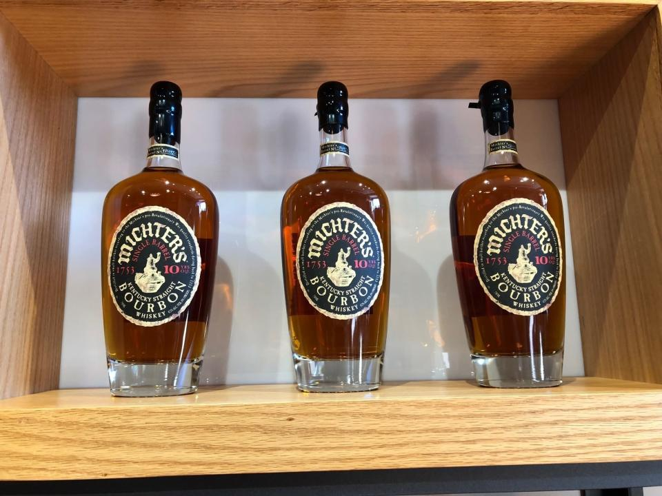 FILE - In this Jan. 25, 2019 photo, bottles of Michter's Bourbon are displayed at the spirit maker's new Fort Nelson Distillery in Louisville, Ky. The European Union and the United States have decided to temporarily suspend measures at the heart of a steel tariff dispute that is seen as one of the major trade issues dividing the two sides. When Trump imposed the tariffs, Europe retaliated by raising tariffs on U.S.-made motorcycles, bourbon, peanut butter and jeans, among other items. (AP Photo/Bruce Schreiner, File)