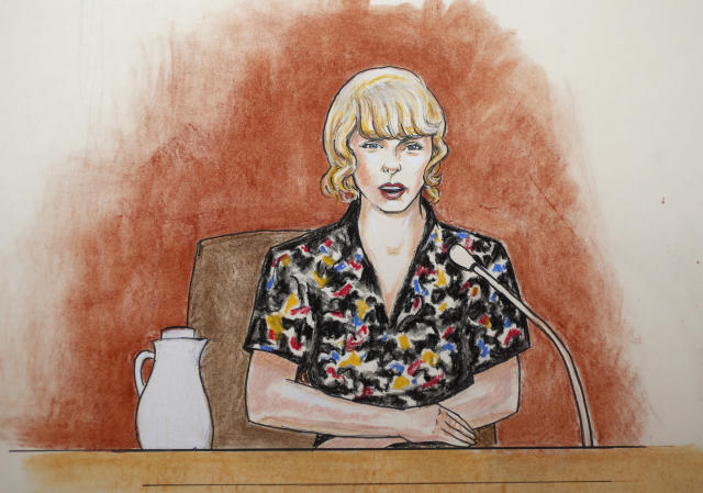 In this courtroom sketch, Taylor Swift speaks from the witness stand during the trial on Aug. 10, in Denver. (Jeff Kandyba via AP)