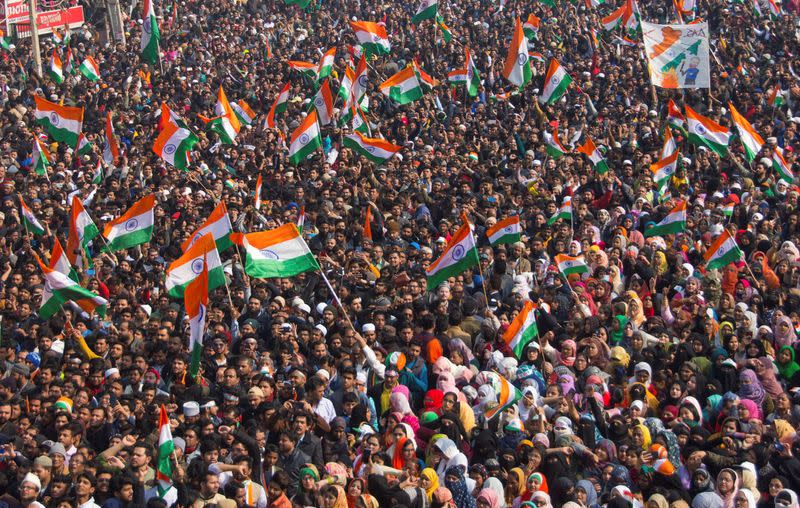Demonstrators attend Republic Day celebrations at the protest site against a new citizenship law in Shaheen Bagh, area of New Delhi