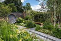 """<p>APL's A Place to Meet Again garden highlights how upcycling and repurposing materials can reduce landfill and inspire creativity. The boardwalk, gin bar and pergola have been made using old scaffold boards. Seating and water features have been formed using large concrete water ducts. </p><p>Designed by: <a href=""""https://www.mikelonggardendesign.com/"""" rel=""""nofollow noopener"""" target=""""_blank"""" data-ylk=""""slk:Mike Long"""" class=""""link rapid-noclick-resp""""><strong>Mike Long</strong></a>   Built by: <a href=""""https://www.kebur.co.uk/"""" rel=""""nofollow noopener"""" target=""""_blank"""" data-ylk=""""slk:Kebur Landscape Division"""" class=""""link rapid-noclick-resp""""><strong>Kebur Landscape Division</strong></a>   Sponsored by: <a href=""""https://www.landscaper.org.uk/"""" rel=""""nofollow noopener"""" target=""""_blank"""" data-ylk=""""slk:The Association of Professional Landscapers (APL)"""" class=""""link rapid-noclick-resp""""><strong>The Association of Professional Landscapers (APL)</strong></a> + Kebur Garden Materials, Creepers Nurseries and Landscape Plus</p><p><a class=""""link rapid-noclick-resp"""" href=""""https://go.redirectingat.com?id=127X1599956&url=https%3A%2F%2Fwww.rhs.org.uk%2Fshows-events%2Frhs-hampton-court-palace-garden-festival%2Fgardens%2F2021%2Fa-place-to-meet-again&sref=https%3A%2F%2Fwww.countryliving.com%2Fuk%2Fhomes-interiors%2Fgardens%2Fg36911790%2Fmedal-winning-gardens-rhs-hampton-court-garden-festival-2021%2F"""" rel=""""nofollow noopener"""" target=""""_blank"""" data-ylk=""""slk:READ MORE"""">READ MORE</a></p>"""