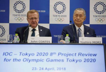 International Olympic Committee (IOC) Vice President John Coates and President of Tokyo 2020 Olympic and Paralympic organising committee Yoshiro Mori attend their news conference following Project Review Meeting in Tokyo, Japan, April 24, 2018. REUTERS/Toru Hanai