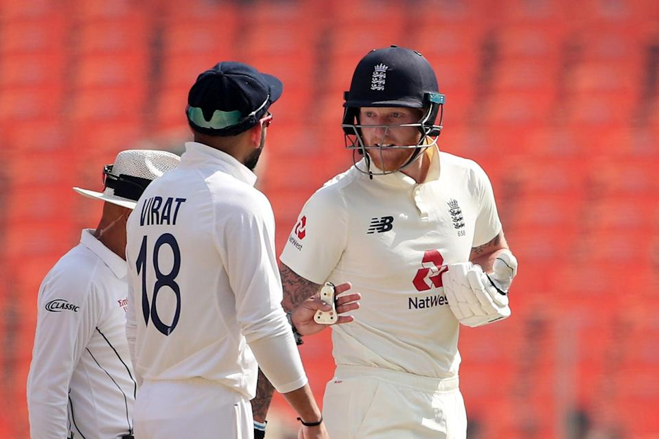 <p>Virat Kohli and Ben Stokes had a frank exchange of views on day one in Ahmedabad</p> (Getty Images)