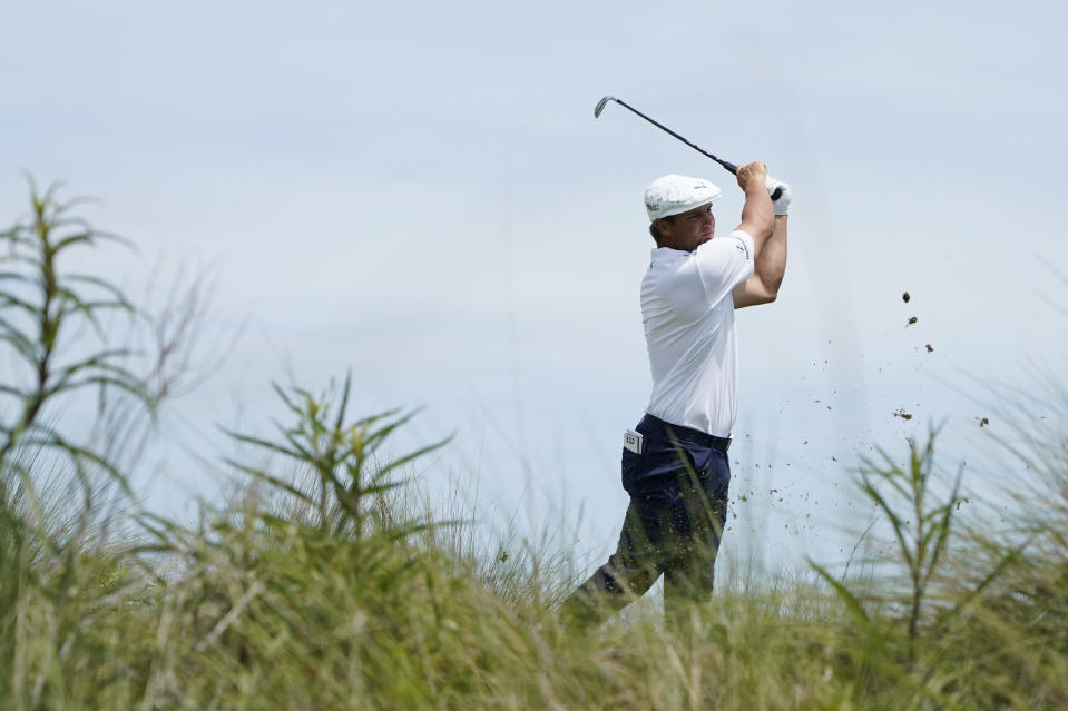 Bryson DeChambeau works on the fifth hole during the third round at the PGA Championship golf tournament on the Ocean Course, Saturday, May 22, 2021, in Kiawah Island, S.C. (AP Photo/Matt York)