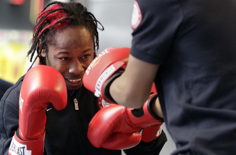 "U.S. Olympics boxing hopeful Rau'shee Warren gives a demonstration during the U.S. Olympic ""Road to London"" celebration on Wednesday, April 18, 2012 in New York. The event marks 100 days until the London Olympics. (AP Photo/Bebeto Matthews)"