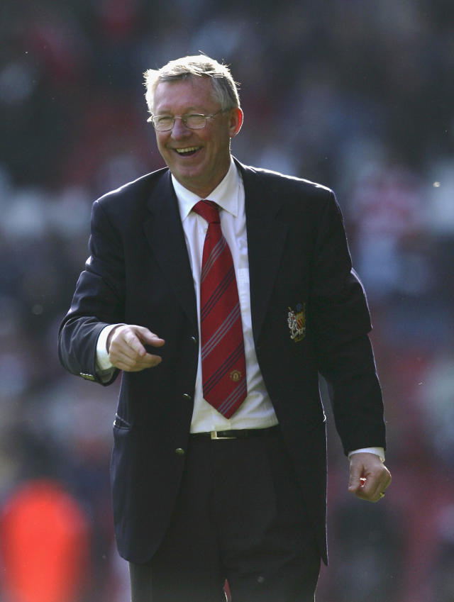 LIVERPOOL, UNITED KINGDOM - MARCH 03: Manchester United Manager Sir Alex Ferguson smiles at the end of the Barclays Premiership match between Liverpool and Manchester United at Anfield on March 3, 2007 in Liverpool, England. (Photo by Ross Kinnaird/Getty Images)