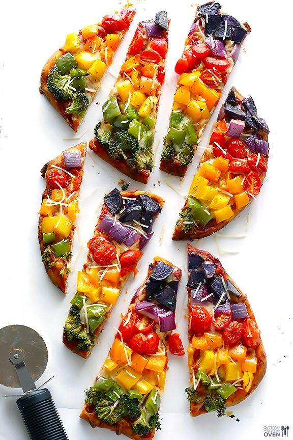 """<p>Healthy is better when it's pretty.</p><p>Get the recipe from <a href=""""http://www.gimmesomeoven.com/rainbow-flatbread-pizza-veggie-pizza-recipe/#_a5y_p=1219177"""" rel=""""nofollow noopener"""" target=""""_blank"""" data-ylk=""""slk:Gimme Some Oven"""" class=""""link rapid-noclick-resp"""">Gimme Some Oven</a>.</p>"""