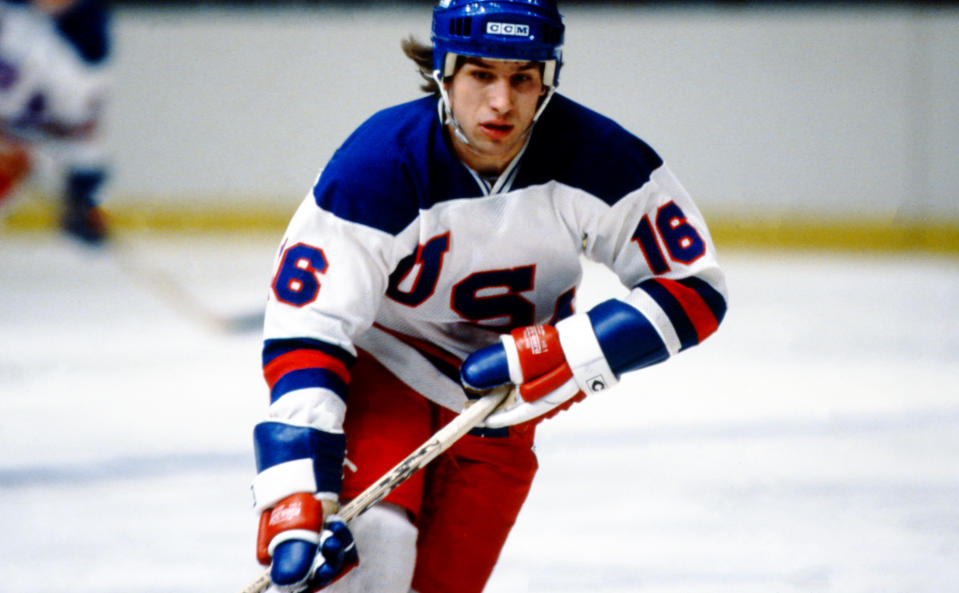 NEW YORK, NY - FEBRUARY 09: American hockey player Mark Pavelich #16 of Team USA in action during the 1980 exhibition game against the Soviet Union on February 9, 1980 at Madison Square Garden in New York, New York. (Photo by Bruce Bennett Studios via Getty Images Studios/Getty Images)