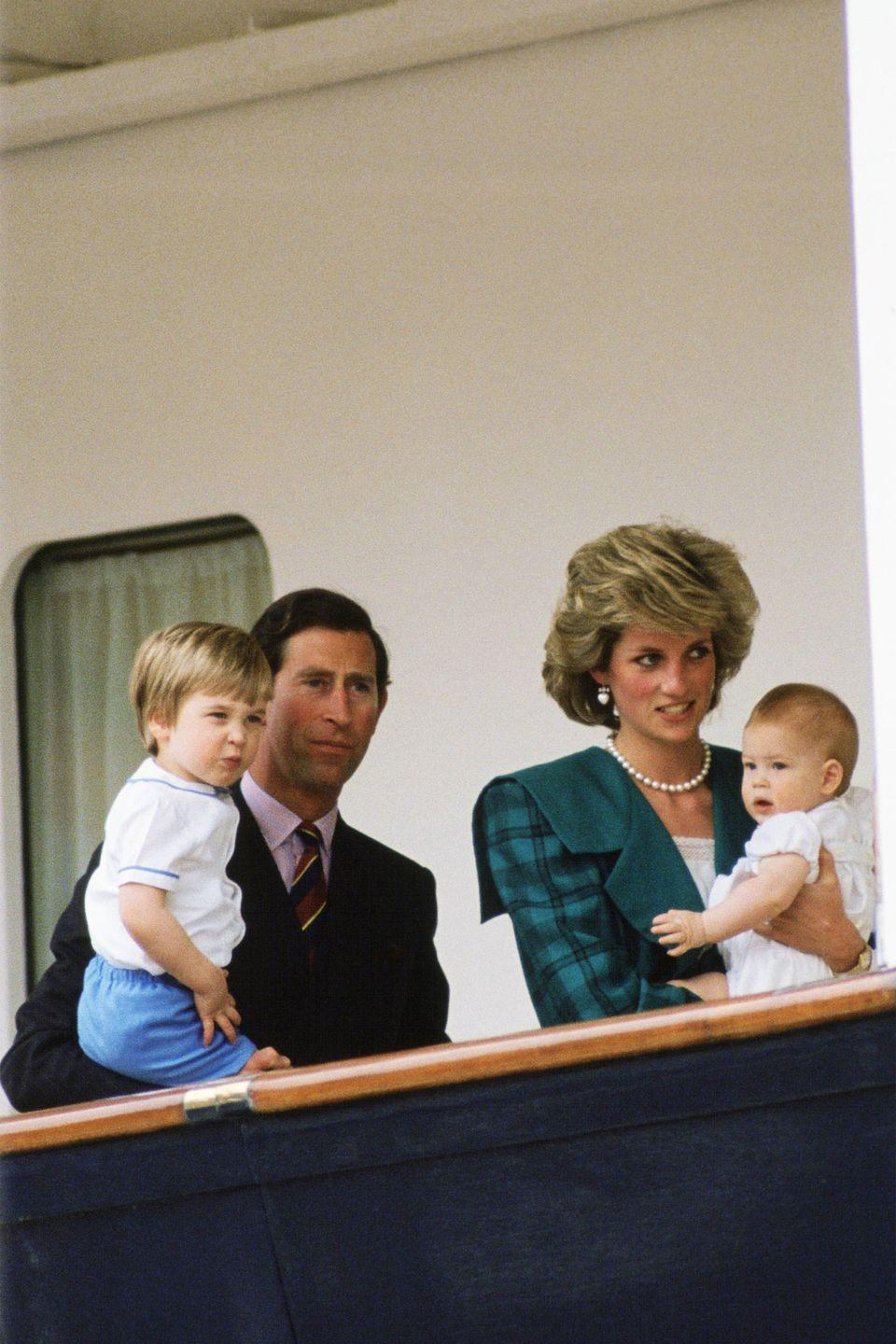 <p>Aboard the the Royal Yacht Britannia in Venice with Prince William and Prince Harry in tow. </p>