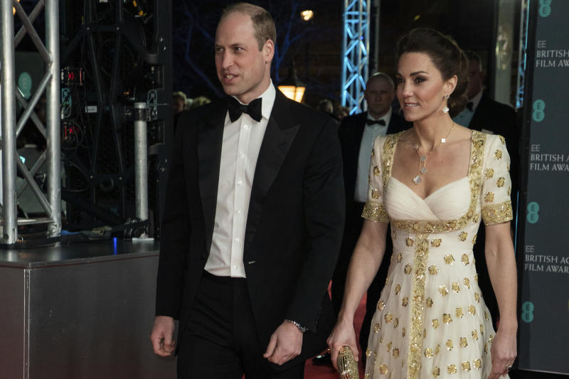 Britain's Kate, The Duchess of Cambridge, right, and Prince William arrive at the British Academy Film Awards in London, Sunday, Feb. 2, 2020. (Photo by Vianney Le Caer/Invision/AP)