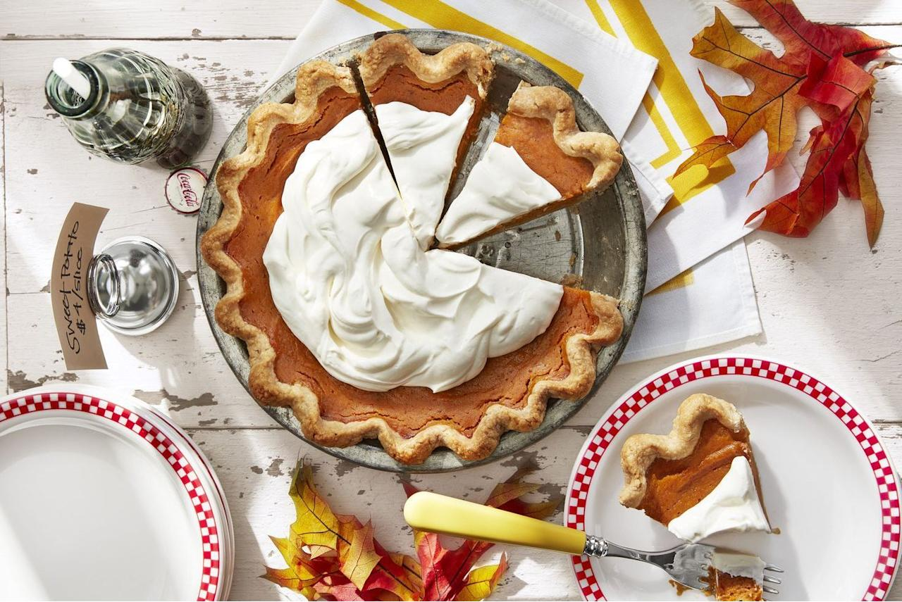"""<p>This may be a given, but you'll definitely want to round out your <a href=""""https://www.countryliving.com/food-drinks/g637/thanksgiving-menus/"""">Thanksgiving meal</a> with one (or two!) of these delicious sweet potato pie recipe ideas. A sweet potato pie is one of the most popular <a href=""""https://www.countryliving.com/food-drinks/g1395/best-thanksgiving-recipes/"""">Thanksgiving dishes</a> you could have on your <a href=""""https://www.countryliving.com/entertaining/g634/thanksgiving-table-settings-1108/"""">dinner table</a>—especially for the <a href=""""https://www.countryliving.com/food-drinks/g883/southern-thanksgiving-1109/"""">Southerners</a> out there—and with good reason. The recipe is always a flavorful mix of savory and sweet, and with a creamy, hearty texture to boot, the whole thing is out-of-this-world delicious. Here, we've done  most of the hard work for you: culling through the best sweet potato pie recipes out there to find the ones that will save you the most time and leave you feeling deliciously satisfied, in true <a href=""""https://www.countryliving.com/life/a25020918/what-day-is-thanksgiving/"""">Thanksgiving</a> fashion. </p><p>You'll find everything from the classics to <a href=""""https://www.countryliving.com/food-drinks/g1331/healthy-desserts/"""">healthier versions</a>, and even a few new recipes with some pretty creative ingredients (chai spiced sweet potato pie, anyone?). Whether you prefer to top yours with marshmallows and broil them to golden-brown perfection, or indulge in a scoop of <a href=""""https://www.countryliving.com/food-drinks/recipes/a3404/vanilla-ice-cream-recipe-clv0610/"""">vanilla ice cream</a>, we promise you'll be happy with your choice. And if you're hosting Thanksgiving this year, you'll be making way more than sweet potato pie. Check out our best <a href=""""https://www.countryliving.com/food-drinks/g1365/turkey-recipes/"""">turkey recipes</a>, <a href=""""https://www.countryliving.com/food-drinks/g896/thanksgiving-side-dishes/"""">side dishes</a>, and <"""