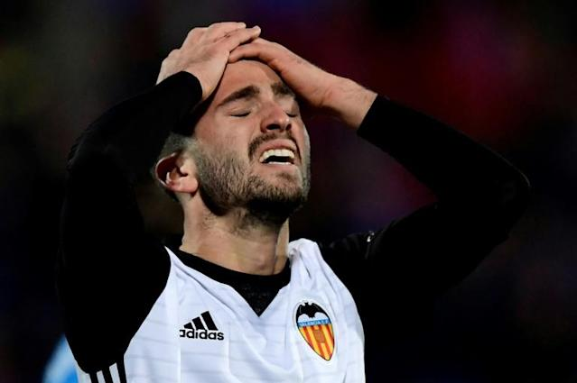 Valencia defender Jose Luis Gaya Pena reacts after missing a goal opportunity during the Spanish league football match Getafe CF vs Valencia CF at the Col. Alfonso Perez stadium in Getafe, Spain on December 3, 2017