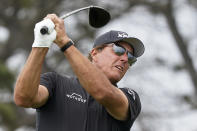 Phil Mickelson plays his shot from the fifth tee during the second round of the U.S. Open Golf Championship, Friday, June 18, 2021, at Torrey Pines Golf Course in San Diego. (AP Photo/Marcio Jose Sanchez)