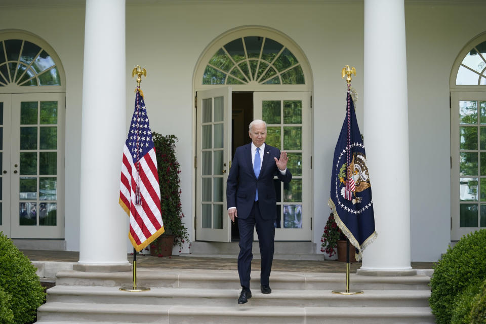 President Joe Biden arrives to speak on updated guidance on face mask mandates and COVID-19 response, in the Rose Garden of the White House, Thursday, May 13, 2021, in Washington. (AP Photo/Evan Vucci)