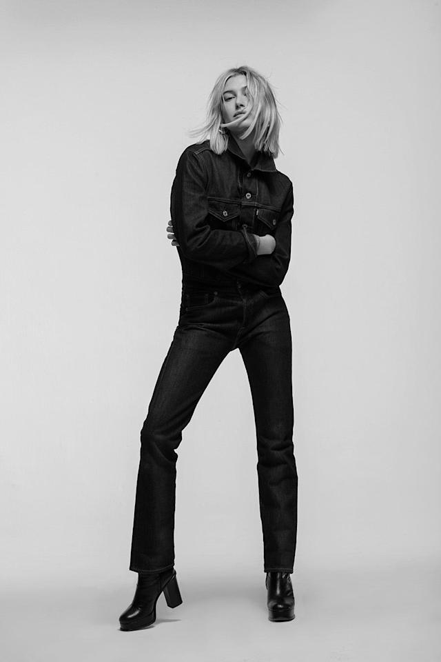 <p>Hailey Baldwin wears the Levi's x karla Boiler Suit. (Photo: Courtesy of Levi's) </p>