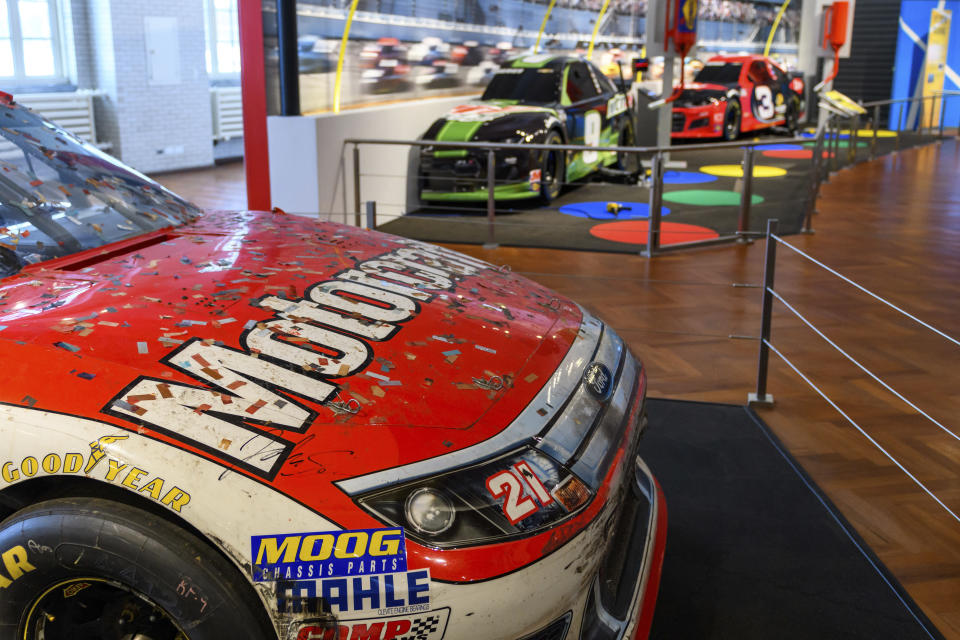 In this image provided by the The Henry Ford, NASCAR driver Trevor Bayne's No. 21 2011 Daytona 500 winning race car is displayed at the Driven To Win exhibit at the The Henry Ford Museum in Dearborn, Mich. (Wes Duenkel/The Henry Ford via AP)
