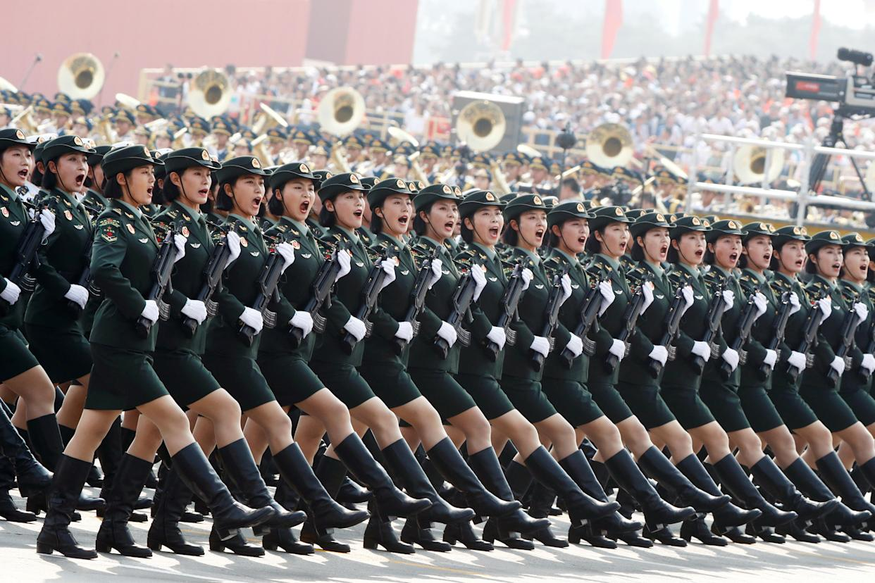 Soldiers of People's Liberation Army (PLA) march in formation during the military parade marking the 70th founding anniversary of People's Republic of China, on its National Day in Beijing, China October 1, 2019. (Photo: Thomas Peter/Reuters)