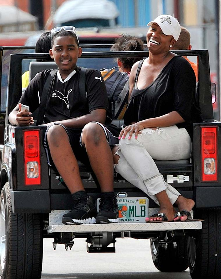 """""""Real Housewives of Atlanta"""" star NeNe Leakes and her son Brent were snapped cruising around on the back of a Hummer while in Miami on vacation Wednesday. <a href=""""http://www.infdaily.com"""" target=""""new"""">INFDaily.com</a> - April 6, 2011"""