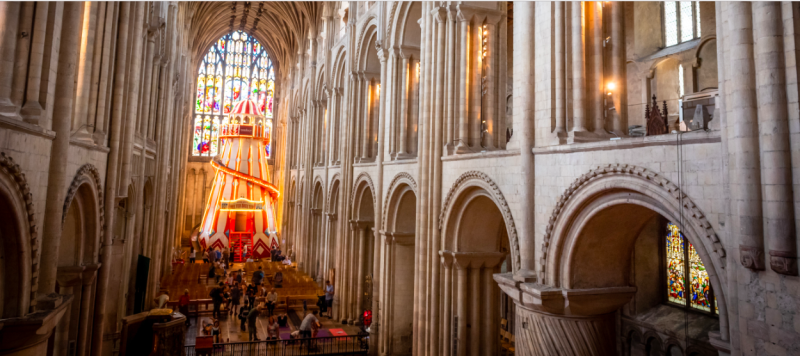 Unique: Norwich cathedral has constructed a 55ft-tall helter skelter in its nave